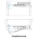 Схема открывания двери внутрь механизма автоматического (электропривод) открывания dsw-100
