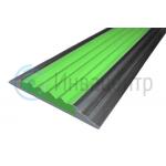 Противоскользящая алюминиевая полоса с резиновой вставкой 46 мм зеленая