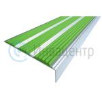 Алюминиевый угол-порог противоскользящий, зеленый цвет