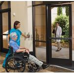Пример оснащения входной группы механизмом автоматического открывания дверей. Открывание наружу