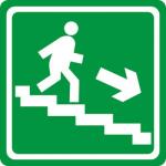 Тактильная пиктограмма Пункт эвакуации по лестнице вниз 150x150 мм