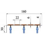 Алюминиевый угол-порог с пятью ТЭП вставками 160/6/30 мм