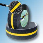 Сигнальная противоскользящая лента AntiSlip 60 grit 50мм/18м черная с желтой полосой