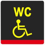 Тактильная пиктограмма Туалет для инвалидов специализированная 100x100 мм