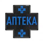 Светодиодный аптечный крест P10 960x960 односторонний синий