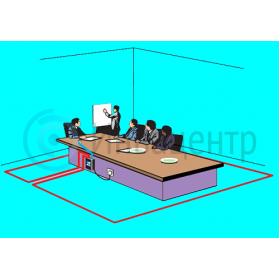 Пример инсатлляции индукционной информационной системы для слабослышащих Volna-50C с настольным микрофоном