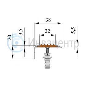 Схема противоскользящей накладки на ступени угловой
