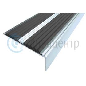 Алюминиевый угол-порог с двумя противоскользящими вставками. Черный цвет