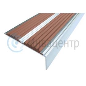 Алюминиевый накладной Угол-порог 68/5,5/22,5 с двумя вставками, коричневый