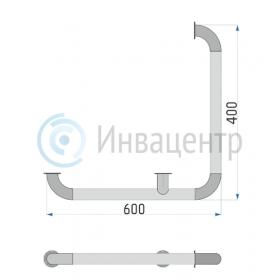 Схема поручня настенного для внешних углов 600*400 мм