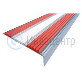 Алюминиевый угол-порог с тремя вставками. Цвет вставок - красный, белый, красный