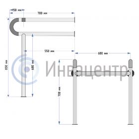 Поручень для раковины пол-стена ПРПС2 - размеры