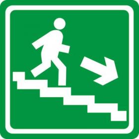 Тактильная пиктограмма Путь эвакуации по лестнице вниз направо 150x150 мм