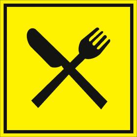 Тактильная пиктограмма Ресторан 150x150 мм