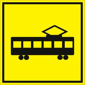 Тактильная пиктограмма Трамвай 150x150 мм