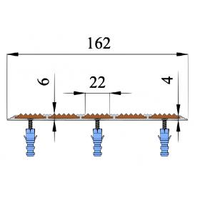 Алюминиевая порог-полоса с пятью вставками 162 мм / 6 мм