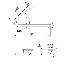 Опорный поручень 309л левый для ванной/душевой 320x480x80 мм