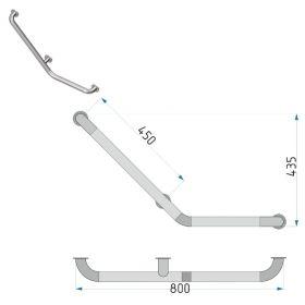 Опорный поручень для ванной 912 правый 800x435 мм