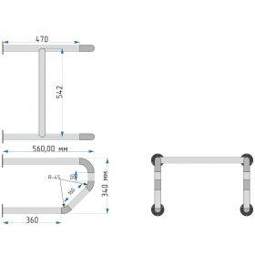 Опорный поручень для писсуара 928 340x580x560 мм