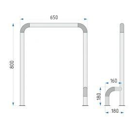 Поручень для санузла 929-1 800x650x180 мм