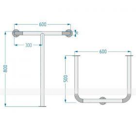 Поручень опорный 932 для раковины 800x600x500 мм