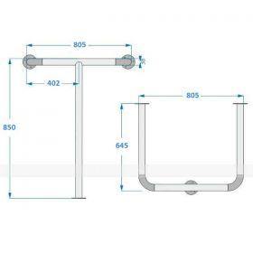 Опорный поручень 932-1 для раковины 850x805x645 мм