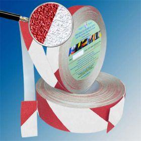 Сигнальная противоскользящая лента AntiSlip 60 grit 50мм/18м бело-красная
