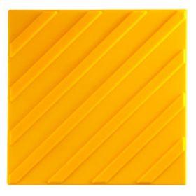 Самоклеящаяся тактильная плитка полиуретан 300x300 мм полоса диагональная желтая