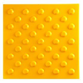 Тактильная плитка полиуретан ТПУ 500x500 мм конус шахматный желтый