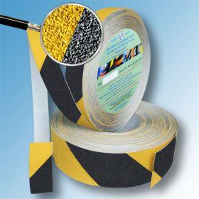Сигнальная противоскользящая лента SlipStop 80 grit 25мм/18м желто-черная