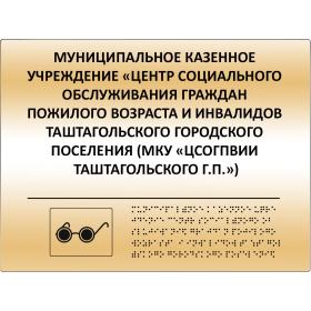 Комплексная полноцветная тактильная табличка 200x300 из пластика ПВХ 2мм с имитацией «золото» и защитным покрытием