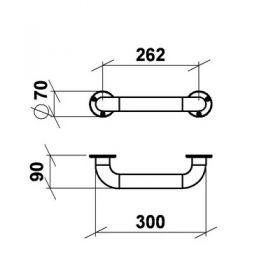 Поручень прямой настенный 30 см ПН30 нерж. сталь d-38