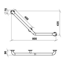 Опорный поручень для ванной 912 левый 800x435 мм