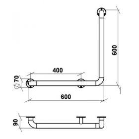 Поручень угловой Г-образный Правый 60*60 нерж. сталь d-38