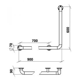 Поручень угловой Г-образный Правый 60*90 см нерж. сталь d-38