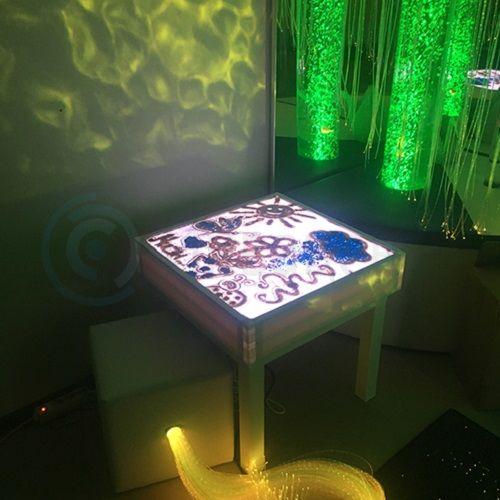 Световой стол для рисования песком спультом ДУ и ножками 60х60х60 см