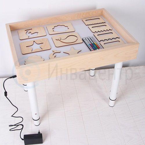 Световой стол с ножками цветной 50*70 см с крышкой + гребень и трафареты
