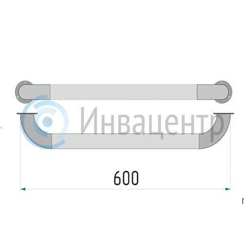 Поручень прямой настенный 60 см ПН60 нерж. сталь d-38