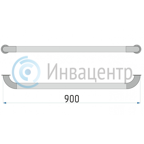 Поручень прямой настенный 90 см ПН90 нерж. сталь d-38