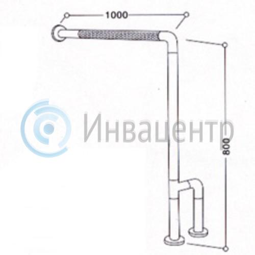 Угловой поручень для санитарно-гигиенической комнаты 8824. 100х80 см