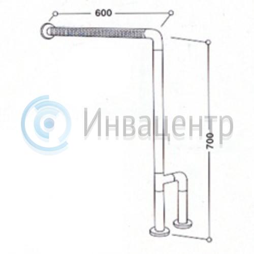 Угловой поручень с креплением к полу 8870. 70х60 см