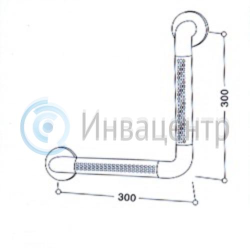 Угловой поручень для санузла 8872. 30х30 см