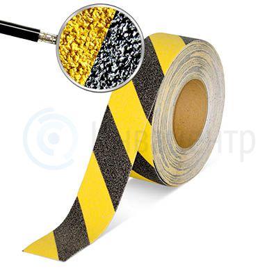 Сигнальная противоскользящая лента NoSlip 60 grit 50мм/18м желто-черная