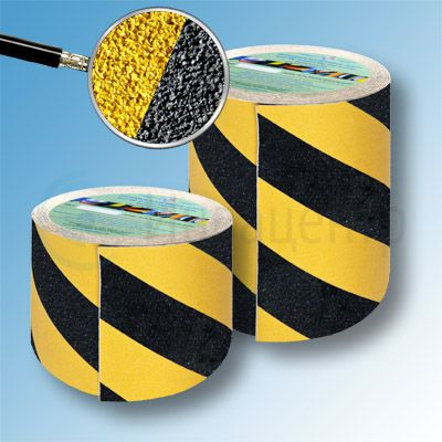 Сигнальная противоскользящая лента SlipStop 80 grit 150мм/18м желто-черная