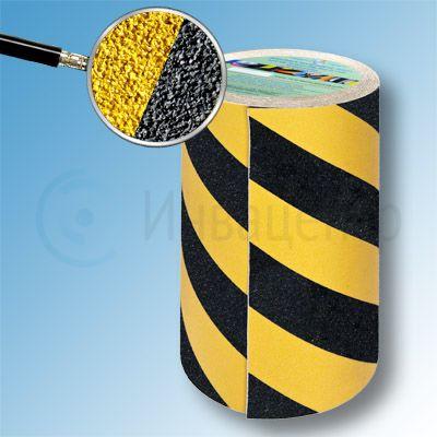 Сигнальная противоскользящая лента SlipStop 80 grit 200мм/18м желто-черная
