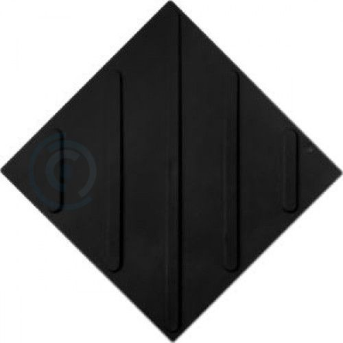 Тактильная плитка полиуретан 300х300 мм полоса диагональ черная