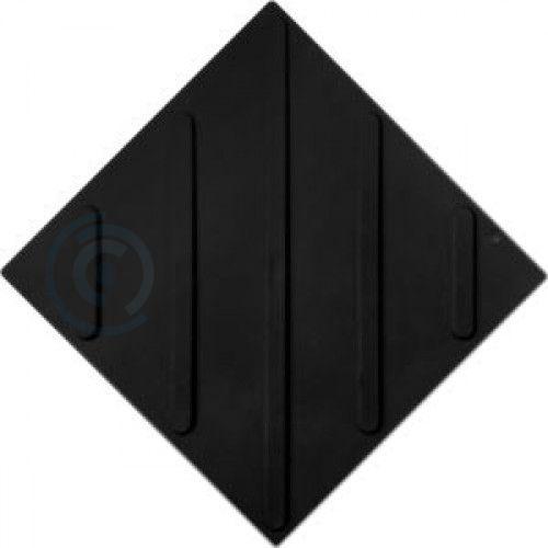 Тактильная плитка полиуретан ТПУ 500x500 мм полоса диагональная черная