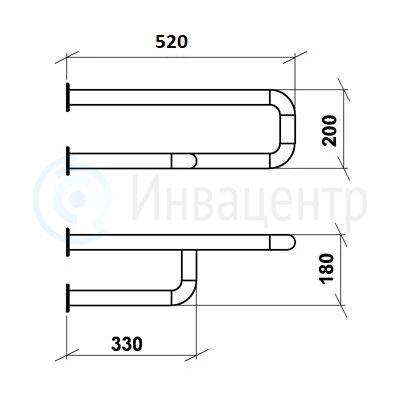 Поручень для раковины настенный боковой ПРНБ 520 мм Правый