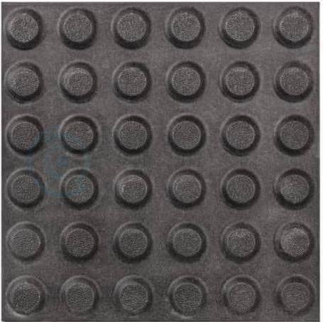 Тактильная плитка керамогранит 300x300 мм с линейными конусными рифами, черная