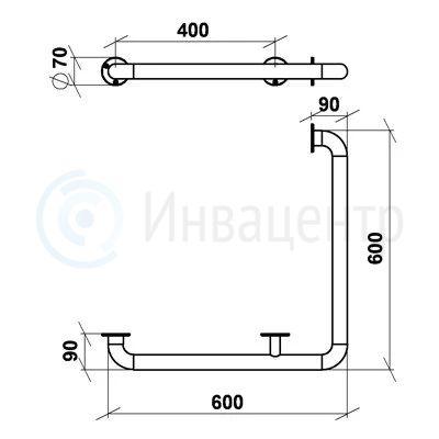 Поручень настенный для внешних углов ПНВЕУ 600x600 мм